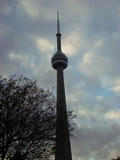 Toronto, CN Tower as seen from a taxi...